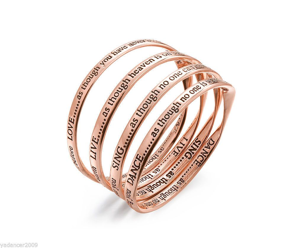 Live Gold Quotes Live Love Dance Sing Set Of 4 Bangles Engraved Quotes Rose Gold
