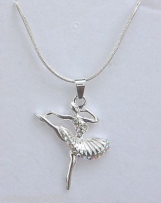 "Ballerina Dancer Pendant/Necklace Crystal Hemline and Bodice 18"" chain Gift Box"