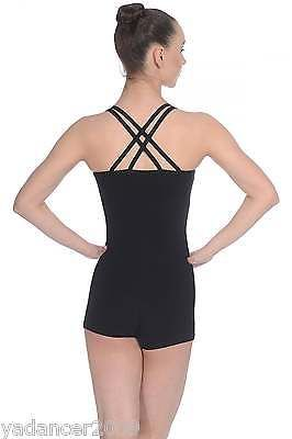 Roch Valley Dance Unitard Double Cross Over Shoulder Straps Cotton/Lycra Black