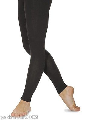 Roch Valley Footless Tights Leggings Cotton Lycra Black Dance Gym Fitness