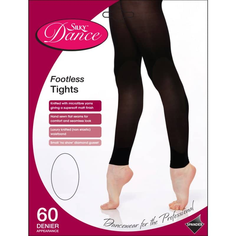 SILKY FOOTLESS DANCE TIGHTS Black Girls Sizes 10% Spandex