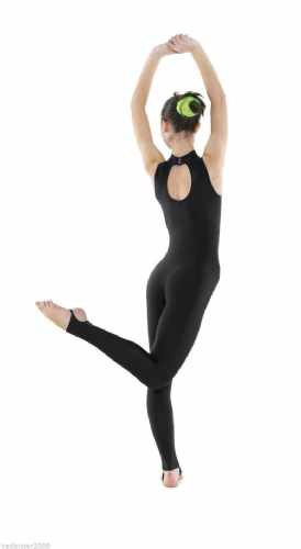 T/&P Long Sleeved All In One Catsuit Scoop Neckline Stirrup Foot Black Dance Acro